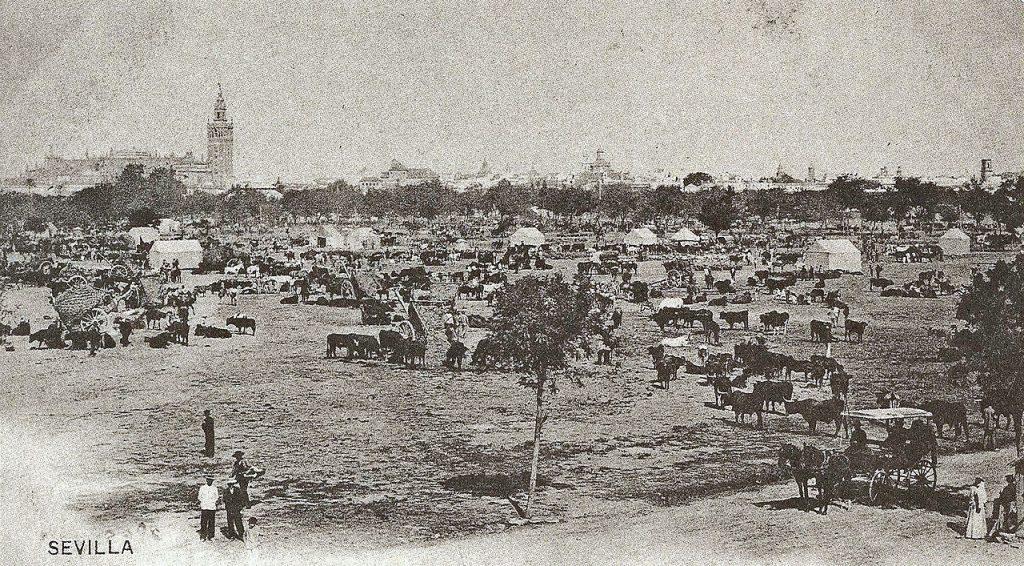Fotografía del prado de San Sebastián lleno de animales durante la feria de abril de Sevilla.