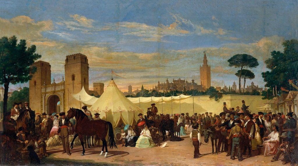 Vista de una de las primeras casetas de feria de Sevilla, pintada por Joaquín