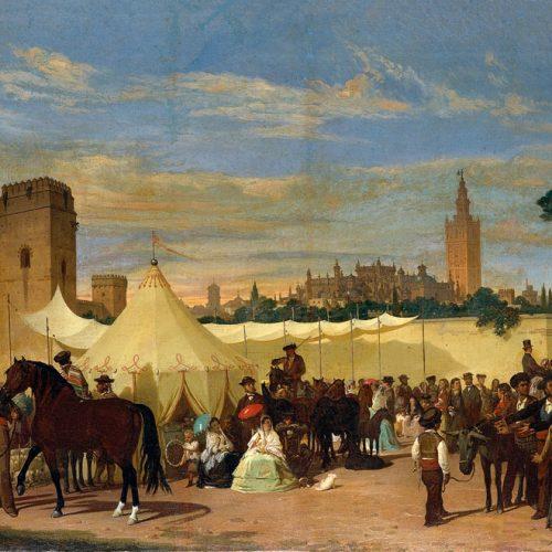 pintura de la feria de abril con una de las primeras casetas de Sevilla